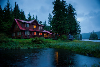 Copy of Lodge Exterior - New Lodge at Night - Overlooking Pond