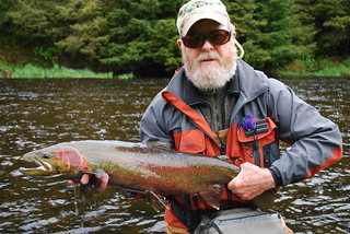 Copy of Freshwater - Steelhead Fishing Spawning - Older Man Sunglasses Ball Cap
