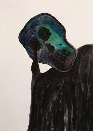 Alex Gene 'Melting Skull' Ink on paper 29.7x21cm 2015