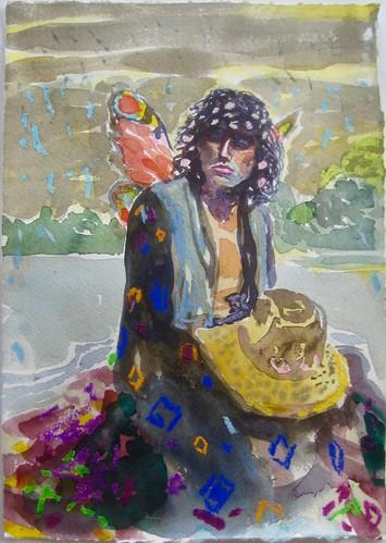 Dominic Shepherd 'Oberon' Watercolour, pastel on paper 30x21cm 2020