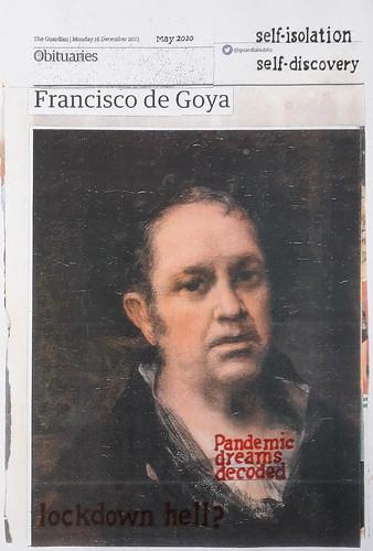 Hugh Mendes 'Goya: self-isolation' Ink, pencil, coloured pencil on digital print 28.8x19.3cm 2020