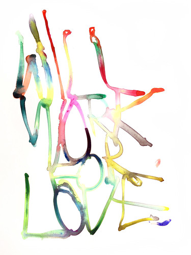 Graham Dolphin 'Will Work for Love' Gouache on paper 29.7x21cm 2020