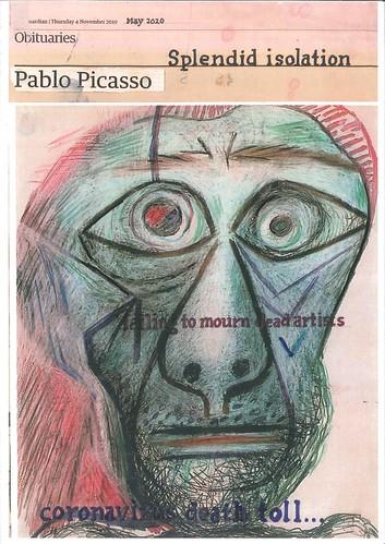 Hugh Mendes 'Picasso Splendid' Ink, pencil, coloured pencil on digital print 29.7x21cm 2020