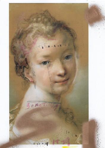 Sam Jackson 'Chronicles 71-X' Spray paint, ink, pencil on paper 29.7x21cm 2020