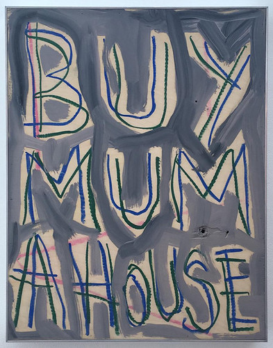 Thomas Langley 'Mummy's Boy' Oil on birch ply 50x39.5cm 2018