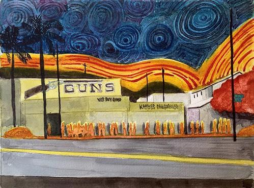 David Risley 'Gun Store' Watercolour on Fabriano paper 23x31cm 2020
