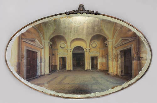 Gina Soden 'Asylum Entrance Hall on Mirror' Photograph hand printed on antique mirror with 24 carat gold leaf & acrylic seal 45x69cm 2018