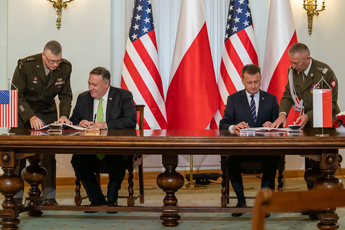 Secretary Pompeo Participates in a U.S.-Poland Enhanced Defense Cooperation Agreement Signing Ceremony with Polish President Andrzej Duda and Polish National Defence Minister Mariusz Baszczak, From FlickrPhotos