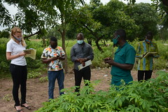Monitoring team talking to extension officer about the nursery
