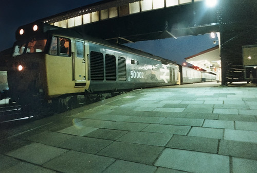 Class 50 002 'Superb' pauses with the up 'Night Riviera'