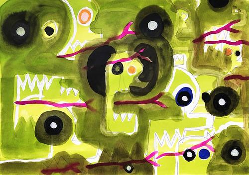 Alex Gene Morrison 'Legion 2'  Ink, watercolour, gouache, marker pen, pencil on paper 21x29.7cm 2020