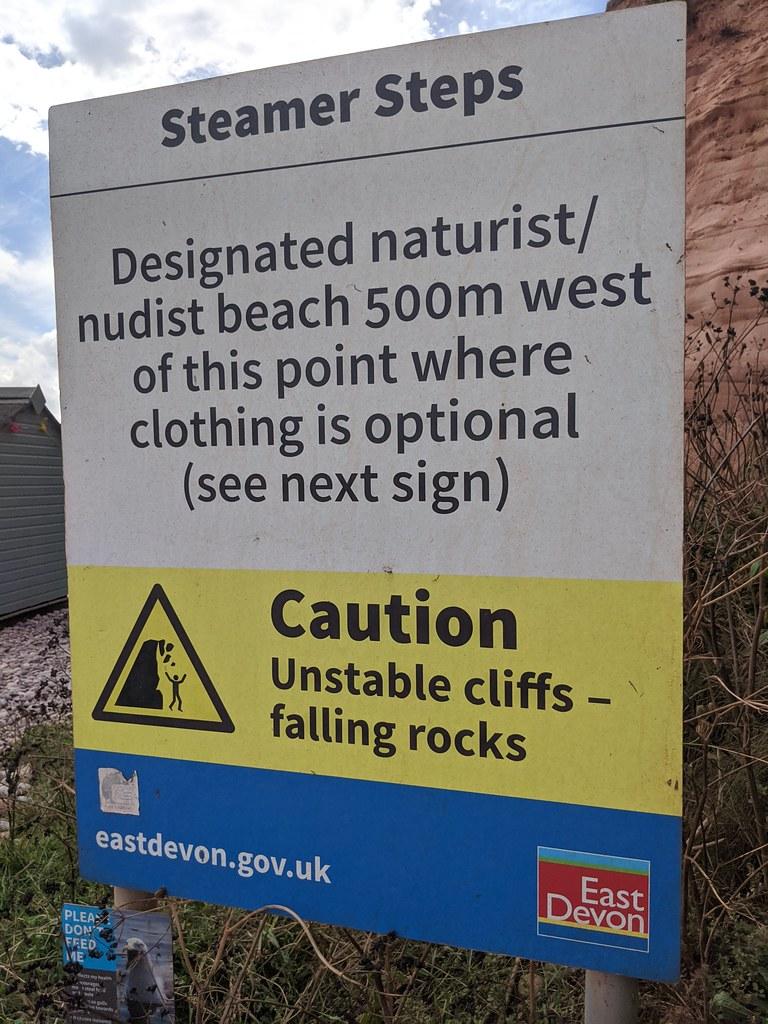 Beware of falling rocks ⚠️  ... and nudists #Devon