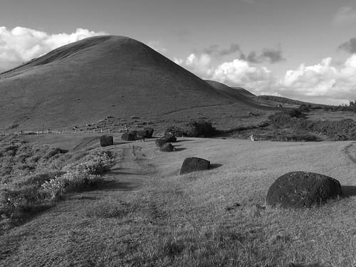 The Pukao(s), the Puna Pau Crater, the Extinct Volcano Maunga Vai-o-Hao, Rapa Nui (Easter Island), Chile, Polynesia, Oceania.