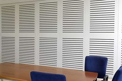 Painted Acoustic Wood Panel in Meeting Room Sontext