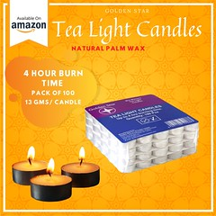 Tea Light Candles 100 Pack | Long Lasting Tea Lights | Tea Candles | Bulk Tea Lights |Golden Star
