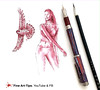 HOW TO DRAW DRAW A WOMAN WITH FALCON - Pen, Ink & Water!