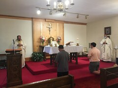 Kevin Richardson and Zachary Lentz (Greensburg seminarians) commit themselves to the St. Mark Seminary formation program during a special Mass with the Carmelite nuns and Fr. Michael Kesicki and Fr. Scott Jabo at Holy Family Monastery on August 7, 2020