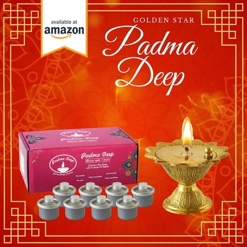 Padma Deep Lamp | Cotton Wick | Brass Kamakshi Vilakku Lamp| Golden Star