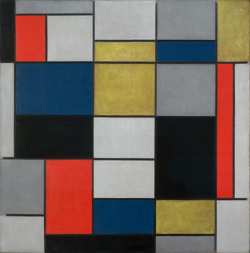 Grande composition A avec noir, rouge, gris, jaune et bleu, Piet Mondrian, Galerie nationale d'Art moderne et contemporain, Rome