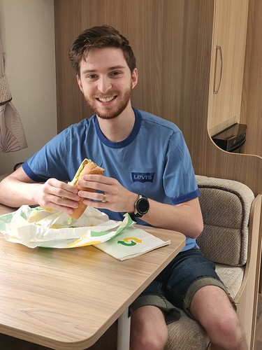 "Michael having lunch in the new caravan • <a style=""font-size:0.8em;"" href=""http://www.flickr.com/photos/95373130@N08/50279445552/"" target=""_blank"">View on Flickr</a>"