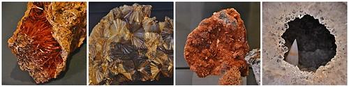Crocoite, Pyrophyllite, Inesite, and Quartz, Royal Ontario Museum, Toronto, ON