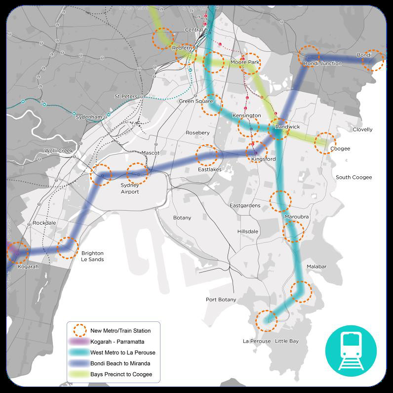 Extract: Sydney South East Transport Strategy Report - Page 31: Mass Transit Nodes 2041