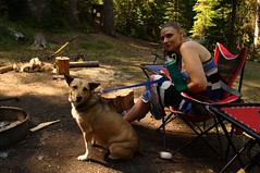 A girl and her dog... camping