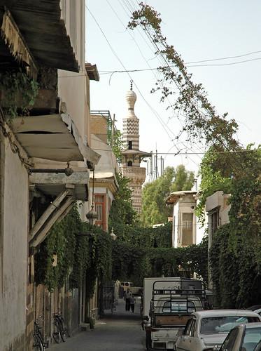 Damascus Old City al-Qari Mosque c.1650 Minaret rebuilt 1697-98 Minaret (1e)