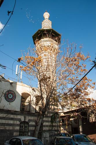 Damascus Old City al-Qari Mosque c.1650 Minaret rebuilt 1697-98 Minaret (4)