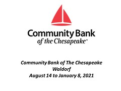 "Community Bank of the Chesapeake - August 14, 2020 - January 8, 2021 8.14.20 - 1.8.2021 • <a style=""font-size:0.8em;"" href=""http://www.flickr.com/photos/124378531@N04/50298481231/"" target=""_blank"">View on Flickr</a>"