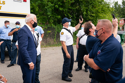 Pizza Delivery and Visit with Local Fire by Biden For President, on Flickr