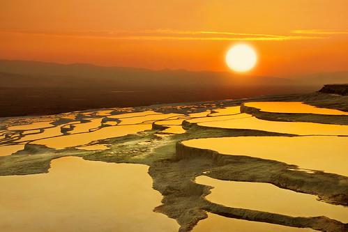 Gold Travertines - Batı Travertenleri Günbatımı(Cotton Castle Western Travertines Sunset)