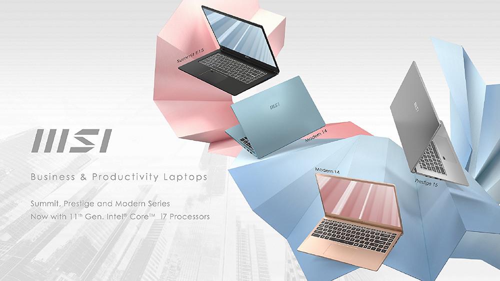 圖說2:微星全新「商務與生產力」由Summit、Prestige和Modern三大系列組成,皆搭載第11代-Intel®-Core™-處理器
