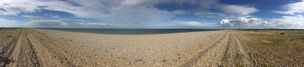 Shingle beach walk from Cley windmill, Norfolk