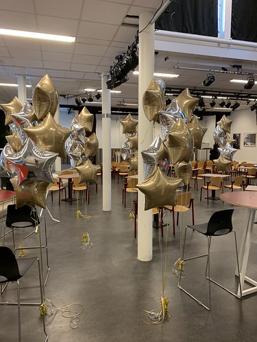 Tafeldecoratie 5ballonnen Gronddecoratie Folieballonnen Ster Diplomering Bonaventuracollege Leiden Geslaagd