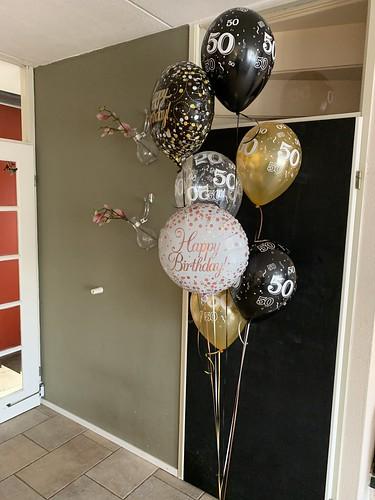 Ballonboeket Verjaardag 50 Jaar zwart goud Abraham Sarah
