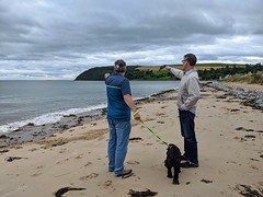 Photo of Duncan, Dexter and Pat, Cromarty, September 2020
