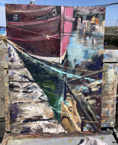 Between - Balbriggan Harbour, Dublin Plein Air  26x18 inches Oil, unframed  €280