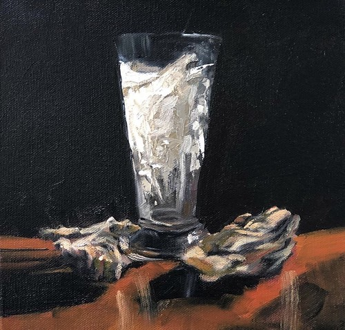 Empty Guinness & Oysters  8x8 inches Oil on Deep Base Canvas €220