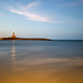 Long exposure of the lighthouse in Vieste, Italy