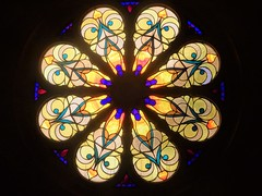 Adelaide. Urrbrae. The interior of St Pauls Catholic Church and monastery. Built in 1927. On the balcony level is this stained glass   rose window.