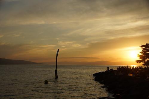 Gabel in Vevey im Sonnenuntergang