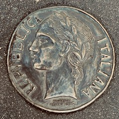 260/366 Unique bronze plaque on Sydney Rd footpath commemorating the significance of the Italian diaspora in Brunswick Melbourne Victoria