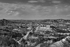 Painted Canyon in the Afternoon Sunlight (Black & White, Theodore Roosevelt National Park)