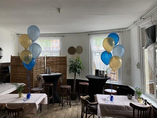 Tafeldecoratie 5ballonnen Cafe Soif Rotterdam