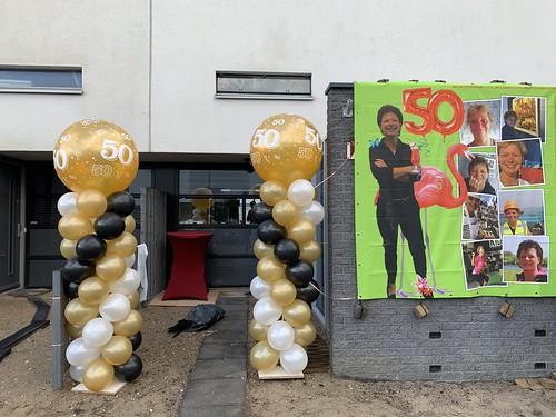 Ballonpilaar Breed Rond Verjaardag 50 Jaar Sarah