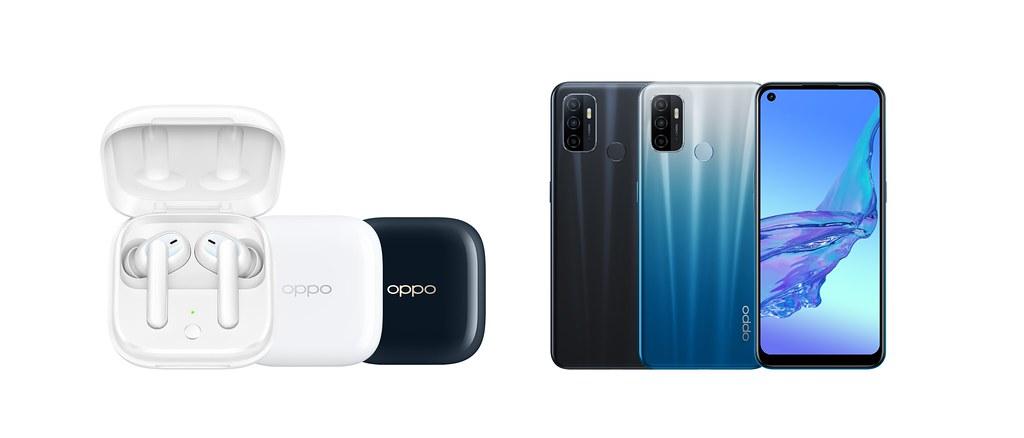 OPPO 今(17)日推出支援同價位最高90Hz螢幕刷新率的OPPO A53(右),及全新真無線耳機OPPO Enco W51(左)。