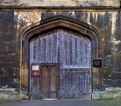 Photo of Chapel double doorway, New College, University of Oxford, England