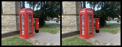Photo of 3D parallel view - traditional red phone box and postbox, in Crawley, West Sussex