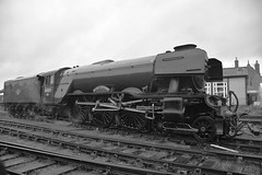 Photo of Locomotive No.60103 'Flying Scotsman' moving off the shed at Wansford, after early morning preparation. Nene Valley Railway 29 09 2019 bw